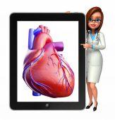 年轻的医生与心脏解剖 — 图库照片