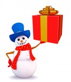Snowman character with gift box — Stock Photo