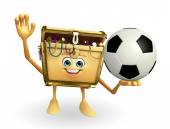 Treasure box character with football — Stock Photo