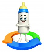Baby Bottle character with Arrow — Stock fotografie