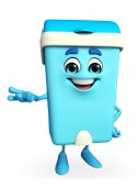 Dustbin Character with presenting pose — Stock Photo