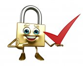 Lock Character with right sign — Stock Photo
