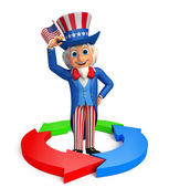 Uncle Sam with business graph   — Stock Photo