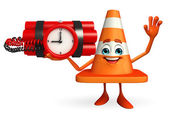 Construction Cone Character with time bomb — Stok fotoğraf