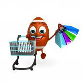 Rubgy ball character with shopping trolley — Stock Photo