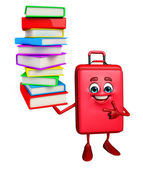 Travelling bag Chatacter with Books pile  — Stock Photo