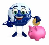 Globe Character with piggy bank — Stock Photo