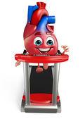 Heart character with walking machine  — Stock Photo