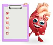 Heart character with notepad — Stockfoto