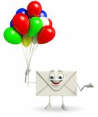 Mail Character with Balloon — Stockfoto