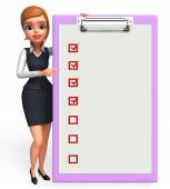 Young office girl with notepad — Stockfoto