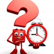 Question Mark character with table clock — Stock Photo #55512039