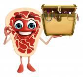 Meat steak character with treasure box — Stock Photo