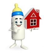 Baby Bottle character with home — Stock Photo
