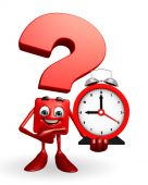 Question Mark character with table clock  — 图库照片