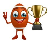 Rubgy ball character with trophy — Stock Photo