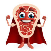 Super Meat steak character — Stock Photo