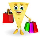 奶酪字符与购物袋 — 图库照片