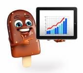 Candy charakter s obchodní graf — Stock fotografie