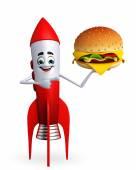 Rocket character with burger — Foto de Stock