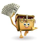 Treasure box character with dollars  — Stock Photo