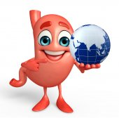 Cartoon Character of stomach with globe — Foto de Stock