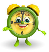 Table clock character is pointing — Stock Photo