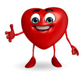 Heart Shape character with shakehand — Stok fotoğraf