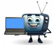 TV character with Laptop — Foto de Stock