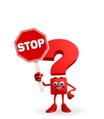 Question Mark character with stop sign — Foto de Stock