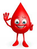 Blood Drop Character with hello pose — Foto de Stock