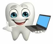 Teeth character with Laptop — Foto de Stock