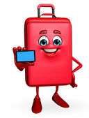 Travelling bag Chatacter with mobile — Stock Photo