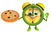 Table clock character with pizza — Стоковое фото