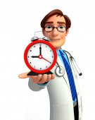 Young Doctor with table clock — Stock Photo