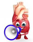 Heart character with loudspeaker — Stock Photo