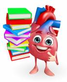 Heart character with Books pile  — Stock Photo