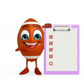 Rubgy ball character with notepad — Foto de Stock