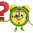 Table clock character with question mark — Stock Photo #55557899