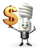 CFL Character with dollar sign — Stock Photo