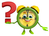 Table clock character with question mark — Stock Photo