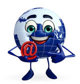 Earth Character with at the rate sign — Stock Photo