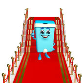Dustbin Character on the red carpet — Stock Photo