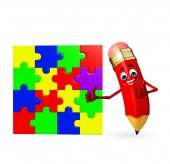Pencil Character with puzzel — Stock Photo