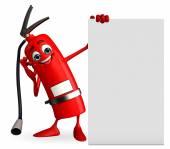 Brandblusser karakter met teken — Stockfoto