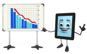 Tab Character with business graph — Foto Stock