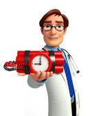 Young Doctor with time bomb — Stock Photo