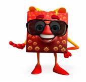 Gift Box Character with sun glass — Foto de Stock