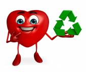 Heart Shape character with recycle icon — Stok fotoğraf
