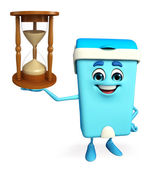 Dustbin Character with sand clock — Stock Photo